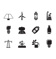 Silhouette energy and electricity icons vector