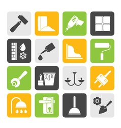 Silhouette construction and building equipment vector