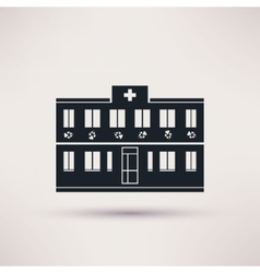 Veterinary pet health care building icons vector