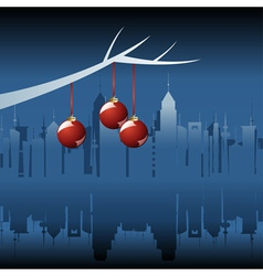 Christmas city by night vector