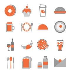 Food orange icons set on white background vector