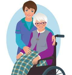Elderly woman and nurse vector