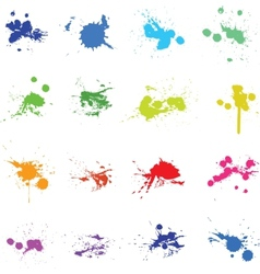 Set of color ink paint splat vector