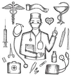 Set of medical supplies hand-drawn vector