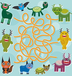 Cute cartoon monster labyrinth game for preschool vector