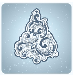 Baroque style christmas tree vector