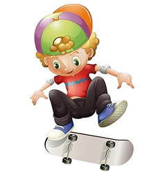 A young man skateboarding vector