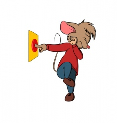 Little mouse push danger button vector