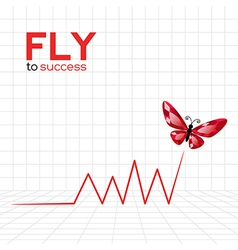 Success graphic with ruby butterfly vector