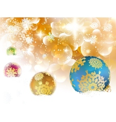 Christmas background with baubles and copyspace vector