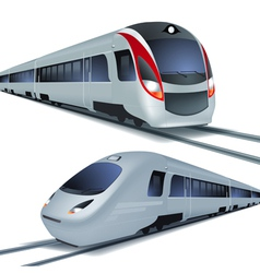 High speed trains isolatetd on white background vector