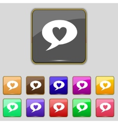 Heart sign icon love symbol set colur buttons vector