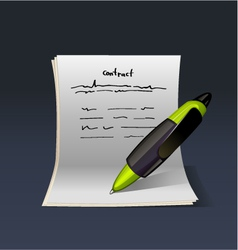 Blank note paper with green pen contract vector