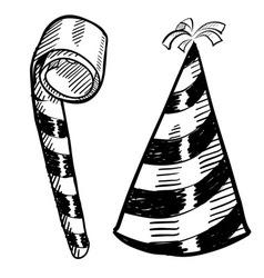 Doodle party hat blower vector