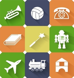 Set of toysand entertainment flat icons vector