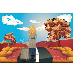 Autumn landscape with girl vector