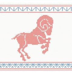 Red knitted pattern with sheep or goat vector