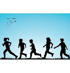 Children running outdoor vector