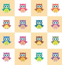 Seamless pattern with owls vector