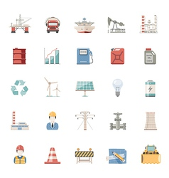 Flat icons industry and energy vector