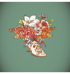 Vintage background with flowers and shoes vector