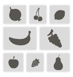 Monochrome icons with fruits vector