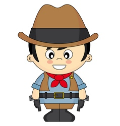 Child dressed as cowboy vector