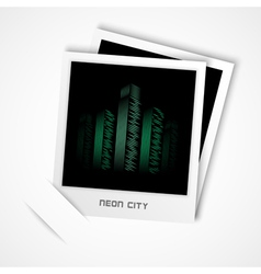 Polaroid neon city vector