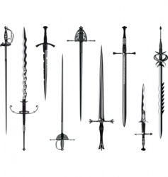 Silhouette collection of swords vector