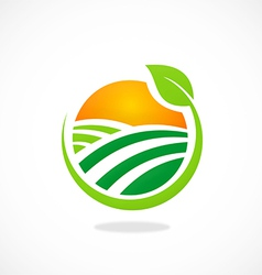 Nature village sun ecology abstract logo vector