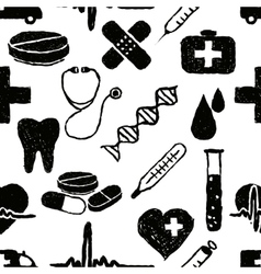 Doodle medical seamless pattern vector
