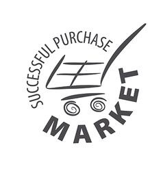 Logo shopping cart in a store vector