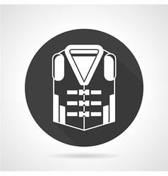 Life vest black round icon vector