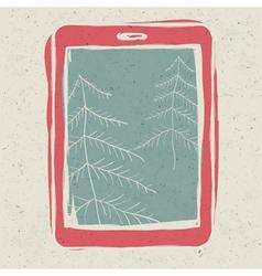 Xmas trees on tablet screen vector