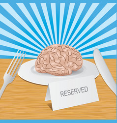 Reserved brain lies on plate healthy brain vector