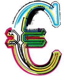 Colorful grunge euro symbol vector