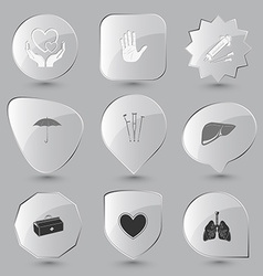 Lungs heart medical suitcase liver crutches vector