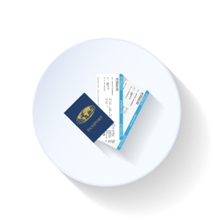 Passport and airline tickets flat icon vector