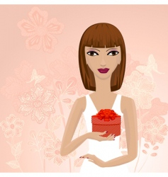 Girl with a gift vector