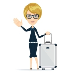 Businesswoman travelling isolated on white vector