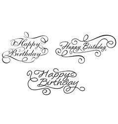 Happy birthday calligraphic embellishments vector