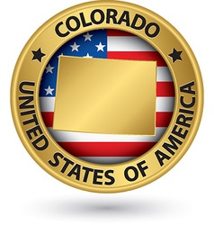Colorado state gold label with state map vector