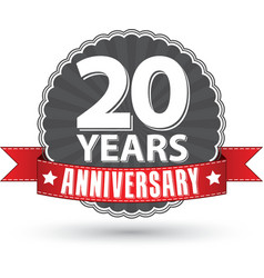 Celebrating 20 years anniversary retro label with vector