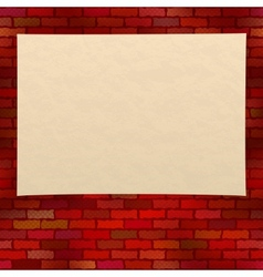 Paper sheet on brick wall vector