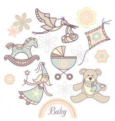 Set of different baby products vector