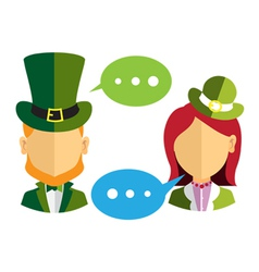 Male and female leprechauns icons vector
