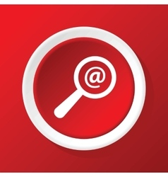Searching mail icon on red vector