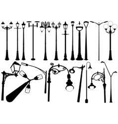 Street lighting silhouettes vector