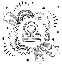 Doodle pop astrology libra vector