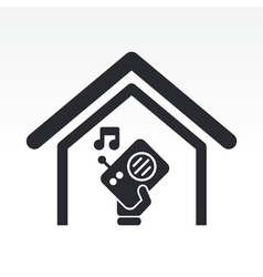 Radio house icon vector